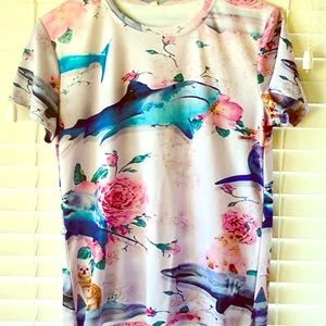 Tops - SHARKS AND ROSES AND CATS graphic mesh tee